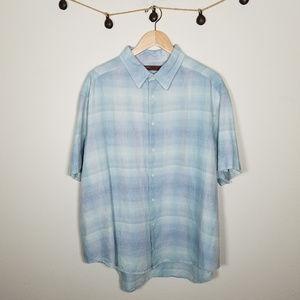 Perry Ellis Pastel Blue Rainbow Linen Button Up 2X